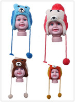 bags beanie baby - 6pcs bag Cute Little Bear Ball Knitted Crochet Wool Baby Hat Winter Warm Ear Flap Headband Beanie Cap DQP1