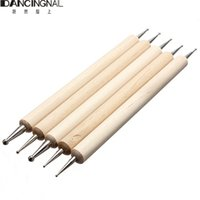 Wholesale 5 Way Professional Nail Art Tip Dotting Pen Wood Tool Set Manicure Painting Kit Design DIY Tools New