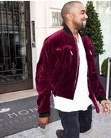 Wholesale miguel velvet bomber jacke hoodies Ackermann velvet A AP velour Jacket Hooded kanye west Haider Red Velvet sleeve Bomber Jacket