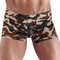 Wholesale Camouflage Boxers - High Quality Men Boxer Shorts Brand Design Mens Boxers Polyester Elastic Men Underwear Camouflage Shorts Low Wasit Male Panties