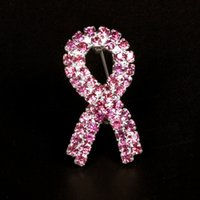 cancer ribbons - Top selling breast cancer awareness pink ribbon rhinestone silver plated pin brooches g weight packed