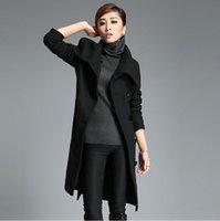 Wholesale 2015 new winter women long woolen coats fashion slim single breasted jackets free belt solid female outerwear warm wool coat