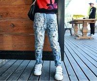best kids jeans - best selling Girl Jeans For Autumn Full Fashion Chicken Tracks Printed Pants For Children Hole Pocket Back Elastic Waist Kid Trousers