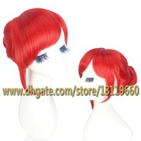 Wholesale Gintama Kagura Female Orange Short Hair Bun Cosplay Anime Custome Wig Rose Net