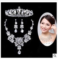 Wholesale HOT Rose Gold Bridal Jewelry Sets Cream Faux Pearl Rhinestone Crystal Diamante Wedding Necklace and Earrings Wedding Jewelry Sets TOP597