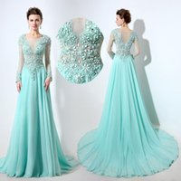 Wholesale See Court Train - Aqua Long Sleeve Prom Dresses Sheer Neck See Through Back Beaded Applique Floor Length Chiffon Formal Evening Party Gowns