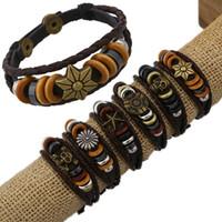 Wholesale 12Pcs Retro Men Handmade Various Charm Genuine Leather Adjustable Bracelet Wristband Jewelry Unisex Men Women