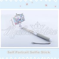 Wholesale New Items Complete New Gray Self Portrait Selfie Stick photo Handheld Monopod for Camera Phone Extends to cm