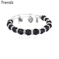 chamilia beads - Black Chamilia Beads Crystal Rhinestone Bracelets Alex Ani Antique Silver Plated Stainless Steel Expandable Wire Bangles Diy Jewelry