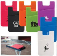 Wholesale Promotional gift M sticker silicone wallet credit card holder business card holder for cell phone