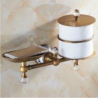 antique marbles - Luxury Antique Brass Bathroom Brass and Marble Wall Mount Toilet Paper Holder Storage Shelf