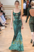 Cheap Elegant Zuhair Murad Mermaid Evening Dress 2015 Spaghetti Straps Green Satin Appliques Sleeveless Sequin Zipper Back Long Formal Party Gowns