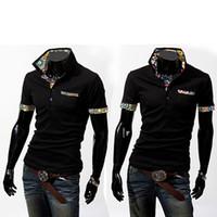 artist t shirt - E artist Casual T Shirt Mens Short Sleeve Tops Tees Slim Fit Solid Double Mercerized Cotton Polo Shirt Color Plus Size XL T09