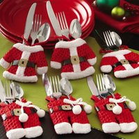 Wholesale Kitchen Cutlery Suit Silverware Holders Pockets Knifes Folks Bag Snowman Shaped Christmas Santa Claus Party Decoration Supplies