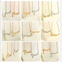zodiac charms - 12 Zodiac Pendants Necklace silver gold star signs Constellation charm necklaces crystal pendants for men women fashion jewelry