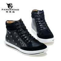 Wholesale New Arrival Winter male outdoor high top casual shoes Fashion Leather Rivet Lacing shoes Blue and Black colors