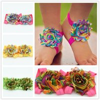 baby rainbow sandals - 8pairs Shabby chic flower Bright Rainbow Swirl Sandals barefoot shoes newborn baby elastic sandals baby shoes