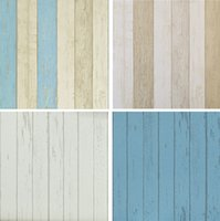 Wholesale Realistic Vingtage Wood Panel wallpaper retro wall paper Wood Wallpaper roll White Grey Blue