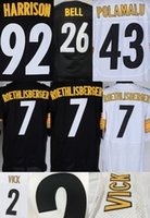 Wholesale 2015 Steelers Michael Vick Mens Jerseys Ben Roethlisberger Le Veon Bell Troy Polamalu Stitched Jerseys Embroidery Name and Logo