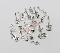 music charm pendant - Mixed Tibetan Silver Plated Music Guitar Sax Charm Pendant Statement Jewelry Making DIY Handmade Jewellery DIY