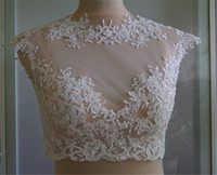 Wholesale Hot selling Bridal Wraps Modest Alencon Lace Crystals Wedding Bridal Bolero For Wedding Dresses Sleeveless Lace Applique Jacket