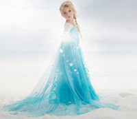 Wholesale Elsa Queen Girls Dress Long Sleeve Princess Frozen Christmas Party Dress Paillettes Children Costume Clothing Kids Formal Clothes Elsa Anna