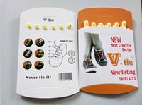 shoes box design - V Tie Most Creative Fashion Design New Listed Lazy Laces silicone shoe laces Shoelaces With English Retail box For kids young people