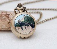 antique wall pockets - New Great Wall pocket watch necklace retro enamel fashion jewelry fashion watch Korean sweater chain pocket watch