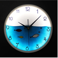 Wholesale 12Inch Glowing Wall Clocks Fashion glow in the dark LED wall clock cute fish quartz clock movement wall watches home decor F58