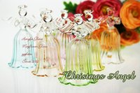 Wholesale 4pcs CM Transparent Glass Angel wind Chime Wedding Tabletop Decoration Christmas tree Hanging Decoration