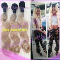 Cheap 7A 1b 613 two 2 tone ombre color body wave virgin colored Brazilian human hair weave extensions 3 pcs lot