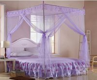 Cheap 4 Corner 1.8m*2m Bedding Bed Canopy Queen King Size Net Mosquito Netting Anti-Insect For student princess Mosquito bed net