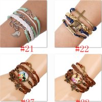 achat en gros de bracelet infini jette l'ancre-10PCS One Direction Ancre Infinity antique Croix Amour Paix Cœur Music Mix souhait Bracelet en cuir Wristbands SET