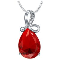 no minimum order - 2015 Rushed Limited Chain Silver Romantic Necklace Pendant with Crystal Sterling Ruby Jewelry Bijoux Christmas Charms No Minimum Order N1151