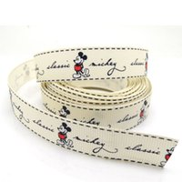 Wholesale 5 Yards Ivory Mickey Mouse quot Wide Wedding Craft Printed Grosgrain Ribbon