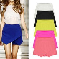 Wholesale Summer Fashion Womens Color Irregular Low Waist Sexy Super Shorts Culottes New Shorts Skirt Plus Size S XXL