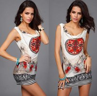 abstract dress designs - Sexy abstract feather printing design big yards summer dress