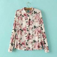 Europa e Stati Uniti New Spring Pink Floral Semi Collo maniche lunghe FG1511