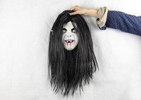 best hair masks - 2015 best quality and popular Horrible Toothy and Long Hair Ghost Face latex soft Mask Halloween Party horror mask