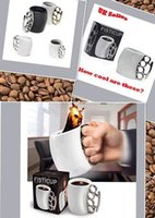 Wholesale Fred and Friends FISTICUP Knuckle Duster Mug Unique Novelty Steel Coffee Mug Cup Silver Fred Boxed New H004