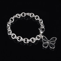 beaded butterfly bracelet - with tracking number fashion Top Sale Silver Bracelet Hollow butterfly Bracelet Silver Jewelry cheap