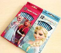 Wholesale Hot Sale box Cartoon Frozen Princess Girl s Color Pencils Best New Popular Stationery Gift Set Set