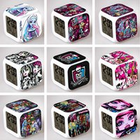 animate party gift - Cartoon Animated Monster High Alarm Clock LED Colorful Glowing Colors Change Digital Alarm Clocks Thermometer Party Gift DHL Factory Price