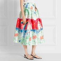pleated skirt - Princess Midi Skirt Vintage Retro Spring Autumn Designer High Waisted Skirts Fashion Womens Character Oil Painting Women Skirt Pleated