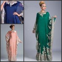 Cheap Green Luxury Lace Abaya Dubai Evening Gowns Long Sleeve Appliques Kaftan Dubai Evening Dresses Fashionable Arabic Dresses ED581