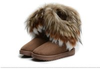 Wholesale Fashion lady Snow Boots Fox Fur Rabbit Fur warmer Short Boots Women s Autumn and Winter Classic Shoes leather Tassel Boots flat heel hot