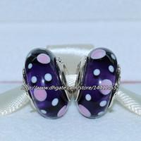 Glass Circle Purple 5pcs 925 Sterling Silver Thread Purple Bubble Murano Glass Bead Fits European Pandora Jewelry Charm Bracelets Necklaces & Pendants MU356