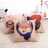 Wholesale 2015 New Style Animal Cotton Linen Pillow Case Sofa Home Decorative Pillow Throw Pillows Case Square Cushion Cover