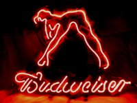 beauty commercials - BUDWEISER RED BEAUTY GIRL REAL GLASS TUBE NEON SIGNBAR LIGHT BEER PUB SIGNS HUNG WALL quot