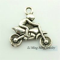 alloy motorcycles metal - 20pcs x21mm Antique Silver Zinc Alloy Motorcycle Athletics Charm Pendant Fit DIY Metal Jewelry Making